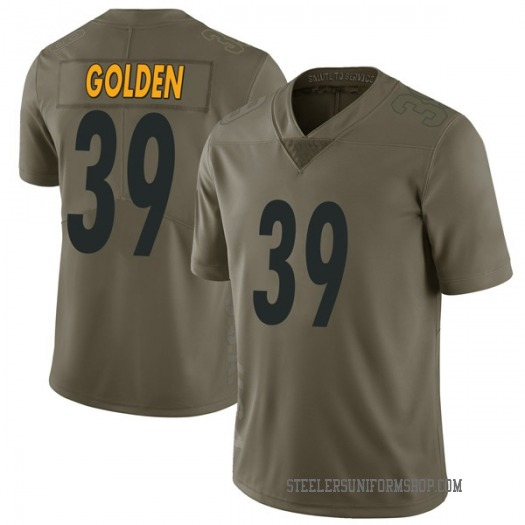 Nike Malik Golden Pittsburgh Steelers Limited Gold Green 2017 Salute to Service Jersey - Youth