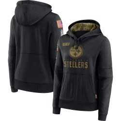Nike Pittsburgh Steelers Black 2020 Salute to Service Performance Pullover Hoodie - Women's