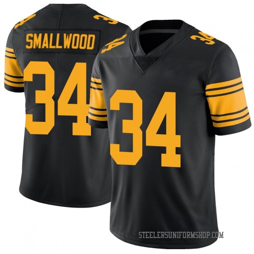 Nike Wendell Smallwood Pittsburgh Steelers Limited Black Color Rush Jersey - Youth
