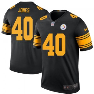 Nike J.T. Jones Pittsburgh Steelers Legend Black Color Rush Jersey - Youth