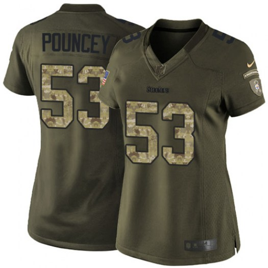 Nike Maurkice Pouncey Pittsburgh Steelers Limited Green Salute to Service Jersey - Women's