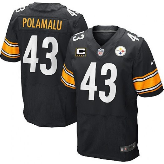 Nike Troy Polamalu Pittsburgh Steelers Elite Black Team Color C Patch Jersey - Men's